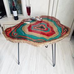 Original resin geode table   Etsy Gold Table, A Table, Resin Table, Types Of Painting, Resin Art, Resin Crafts, Loft Style, Wood Design, Decorating Your Home