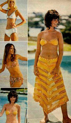 1960s fashion yellow bikini summer resort sportswear color photo print ad, dig the wash n wear shag hairstyle!
