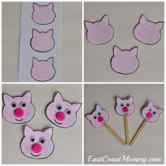 i did a pig storytime this week and we had a good time with the three little pigs. number crafts {number three} the three little pigs. three little pigs masks. five little pigs. Rhyming Preschool, Rhyming Activities, Preschool Crafts, Preschool Activities, Apple Activities, 3 Little Pigs Activities, Toddler Crafts, Crafts For Kids, Three Little Pigs Story