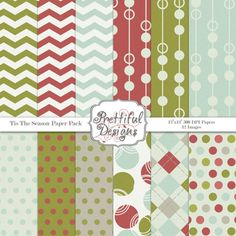 Digital Paper Pack  for Scrapbooking, Card Making, Invitations -Tis The Season