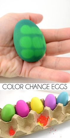How fun are these thermochromic color change Easter eggs? They can change with your hands alone! Plastic Easter Eggs, Easter Egg Dye, Coloring Easter Eggs, Easter Crafts For Kids, Easter Party, Easter Ideas, Cool Easter Eggs, Egg Coloring, Easter Cake