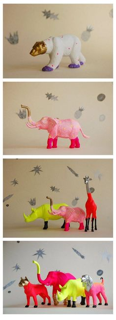 DIY Inspiration: Plastiktiere in Neonfarben angemalt // paint plastic animals in fun colors