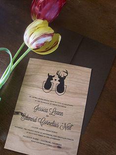 Deer Head Antlers Wedding Invitations Rustic Woodland printed on Real Wood. $7.50, via Etsy.