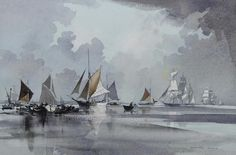 Rowland Hilder (British, Thames sailing barges and other shipping in a calm Watercolor Water, Watercolor Drawing, Watercolor Landscape, Landscape Paintings, Watercolor Paintings, Watercolors, Desktop Pictures, Art Pictures, Art Pics