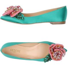 Gedebe Ballet Flats ($500) ❤ liked on Polyvore featuring shoes, flats, green, ballet pumps, ballerina pumps, rhinestone flats, green shoes and green ballet shoes