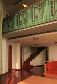 Price Tower Remodeled Hotel Suite: Patinated copper facing on loft railing. Frank Lloyd Wright