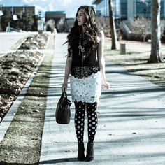 in these street style outfit with black polka dot tights in black. Fashion Tights, Tights Outfit, Grey Fashion, Women's Fashion, Floral Tights, Polka Dot Tights, Black Patterned Tights, Black Tights, Heart Tights
