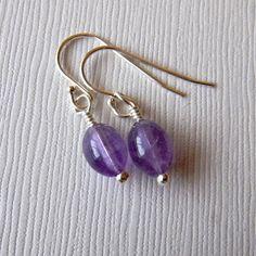Amethyst Gemstone Earrings by JulieEllisDesigns
