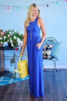 Calli Solid Racer Back Maxi Dress : Cobalt Blue