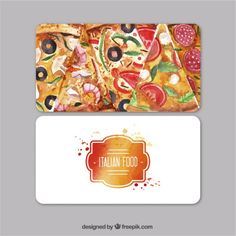 Watercolor business card for italian restaurant