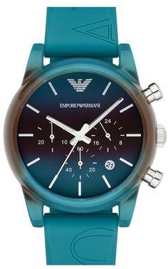 Emporio Armani Chronograph Gradient Silicone Strap Watch, 41mm