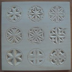 Collection of small rossettes [Kollektion kleiner Rosetten] Wood Carving Designs, Wood Carving Patterns, Diy Wall Art, Wood Wall Art, Chip Carving, Fabric Stamping, Egg Art, Wood Ornaments, Whittling