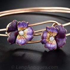 Victorian Enamel and Diamond Pansy Bracelets - 40-1-3984 - Lang Antiques