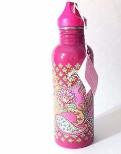 Vera Bradley Pink Swirls 25 Oz Water Bottle BPA Free Paisley New Cold Drinks  #VeraBradley
