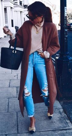 trendy outfit / long coat + bag + nude sweater + shoes