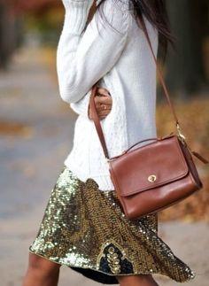 Sequin skirt  + fisherman's sweater + cognac bag.