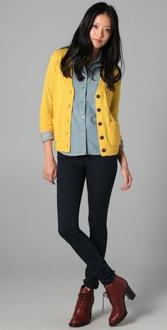 Cute yellow sweater for fall.