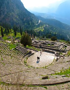 Arena at The Tholos Temple, Delphi Greece #Delphi #Temple http://reversehomesickness.com (Here's the theatre. It's tiny compared with Athens or Epidaurus, but isn't it a gem?)