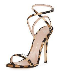 Giuseppe Zanotti Leopard-Print Grosgrain Sandal Leopard Print Sandals, Leopard Shoes, Leopard Prints, Cheetah, Stilettos, Stiletto Heels, Cute Shoes, Me Too Shoes, Giuseppe Zanotti Shoes