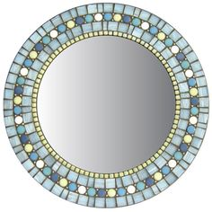 Round Mosaic Wall Mirror Periwinkle Blue Light by opusmosaics Beaded Mirror, Mirror Mosaic, Round Wall Mirror, Glass Mosaic Tiles, Mosaic Wall, Mosaic Tile Designs, Mosaic Diy, Mosaic Crafts, Mosaic Patterns