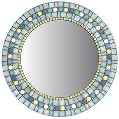 Turquoise Wall Mirror round mosaic wall mirror - turquoise blue-green | mosaics, mosaic