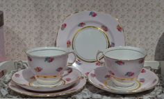 Colclough Pair of Tea Cup Trios, Tea Cups, Saucers, Tea Plates, Vintage Pink and Ditsy Roses with Gilt Bone China, Excellent Condition by ImagineHowCharming on Etsy