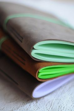 Leather Sketchbook or Notebook, Leather vintage journal - Brown with Thick green…