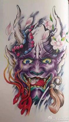 Japan tattoo hijab names - Hijab Japanese Tattoo Art, Japanese Tattoo Designs, Japanese Art, Tattoo Drawings, Body Art Tattoos, Print Tattoos, Sleeve Tattoos, Hannya Mask Tattoo, Samurai Mask Tattoo