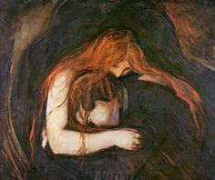 """Edvard Munch """"Amor y dolor (conocida como """"Vampiresa"""") 1893"""