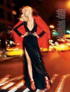 Jessica Stam wearing Balmain dress, Marc Cain coat, Versus Versace heels, Burberry Prorsum belt, and Chopard jewellery
