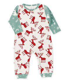 Love this Green & Red Reindeer Romper - Infant on #zulily! #zulilyfinds