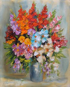 Flowers, giclee canvas print of original oil impasto painting,colorful,palette knife,fine art print by IvMarART on Etsy