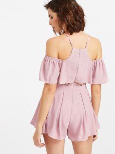 Pink Cold Shoulder Ruffle Jumpsuit