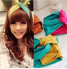 Fashion candy color hair band cross color block vintage headband bandanas hair accessory free shipping on AliExpress.com.