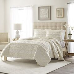 August Grove Spiritwood Lake Comforter Set | Birch Lane Ruffle Quilt, Ruffle Bedding, Ivory Bedding, Rustic Bedding, Master Bedroom, Bedroom Decor, Bedroom Ideas, Bedroom Size, Bedroom Furniture
