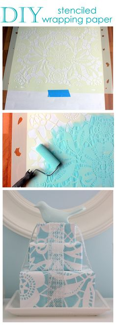 Stenciled wrapping paper - use regular white wrapping paper and any stencils