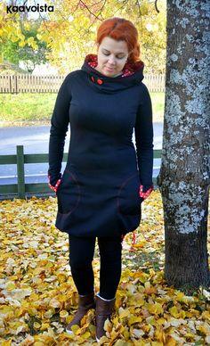 Kaavoista viis: NOSH - Hanna Hoodie Dress, Sewing Clothes, High Neck Dress, Hairstyle, Stitch, Hoodies, Knitting, Pattern, Inspiration