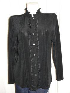 NEW CITIKNITS QVC Black Ruffle Collar/Trim Stretch LS Button Down Shirt Top Sz L #Citiknits #ButtonDownShirt #Career