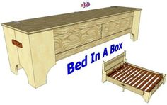 The plans for the collapsible bed designed by Robert MacPherson. Yes. Please.