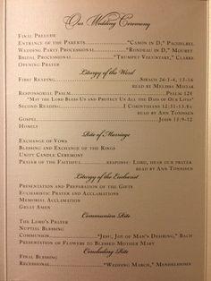 Catholic wedding program Nuptial mass wedding Detroit Sweetest Heart of Mary …