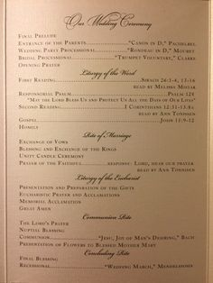 Catholic wedding program Nuptial mass wedding Detroit Sweetest Heart of Mary