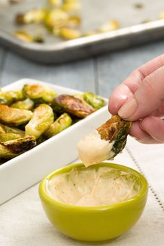 An appetizer too easy not to make: Roast quartered Brussels sprouts until they're charred and crispy and serve with a three-ingredient aioli. Get the recipe from Delish. Even picky eaters can't say no to buffalo Brussels sprouts. Sprout Recipes, Vegetable Recipes, Vegetarian Recipes, Cooking Recipes, Healthy Recipes, Side Recipes, Crispy Brussel Sprouts, Cooking Brussel Sprouts, Brussels Sprouts