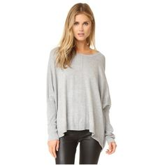 525 America Dolman Center Seam Sweater ($95) ❤ liked on Polyvore featuring tops, sweaters, heather grey, cut loose tops, snug top, crew neck tops, dolman top and drapey top