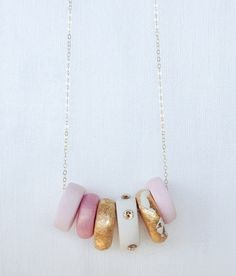 Pretty in pink clay with swarovski necklace by ethereal0design