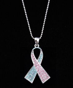 Pink & Baby Blue Pregnancy Infant Loss Awareness Pendant Necklace
