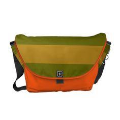 Cute Bright Orange and  Green striped  Bag