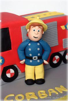 Fireman Sam just for luke, Jill. Fireman Birthday, Fireman Party, 2nd Birthday, Fire Engine Cake, Fireman Sam Cake, Dedication Cake, Fire Cake, Fire Fighter Cake, Candy Bar Party