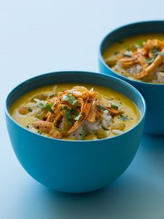 Mulligatawny Soup with red or yellow Lentils; toppings and garnish: cooked Jasmine Rice roasted and shredded chicken breast.