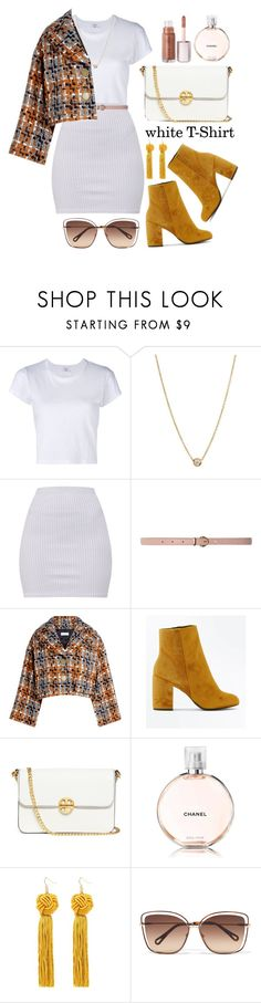 """""""with T-shirts don't have to be basic"""" by mara-glamour ❤ liked on Polyvore featuring RE/DONE, ZoÃ« Chicco, Dorothy Perkins, Sonia Rykiel, New Look, Tory Burch, Chanel and Chloé"""