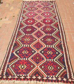 Red Kilim Rug Decorative Handwoven Kilim Runner Flatwoven Turkish Vintage rug FAST DELIVERY Tribal Boho kilim 119x258cm Bohemian Home decor